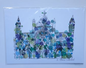 Blue St. Albans cathedral A4 art print