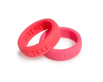 2 Ring Set! - Bundle deal Personalized Silicone Wedding Ring Band Anniversary Gift for Men & Women couples gift Custom silicone Ring fit