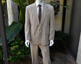 Vintage 1980's Saks Fifth Avenue Tan Poplin Suit - Size 42