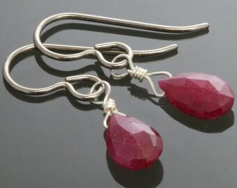 CLEARANCE. Genuine Ruby Earrings. Titanium Ear Wires. July Birthstone. Lightweight Earrings. f13e016