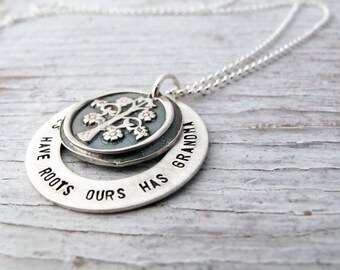 Grandmother's Family Tree Necklace, All Trees Have Roots Ours Has Grandma, Fine Silver, Tree of Life, Christmas Gift