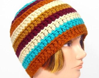 Handmade Hat, Crochet Beanie, Men's or Women's - 'SpringTides'