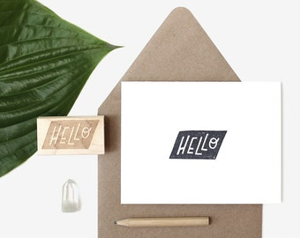 Hello Shape Hand Lettered Rubber Stamp