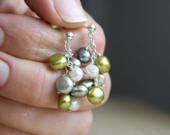 Multi Pearl Earrings . Pearl Cluster Stud Earrings . Green Post Earrings with Dangle Long . Multicolored Earrings . Post Dangle Earring