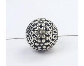 1 Bead Bali Oxidized 925 Sterling Silver 14.5mm Filigree Bead F190