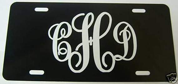 License Plate - Black with Any Color Monogram