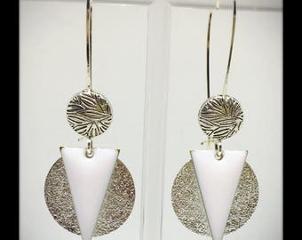 elegant Silver, white and Silver earrings