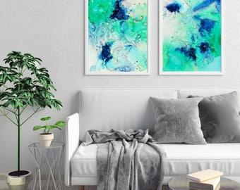 Set of 2 Prints, Wall art, Abstract Painting set of 2, Prints, Modern Art, Living room decor, Fluid art