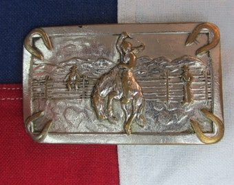 Vintage 1970's Bucking Bronco and Cowboy Belt Buckle Brass Horseshoe Western Wear Horse Rodeo Rider Mountains Rectangle
