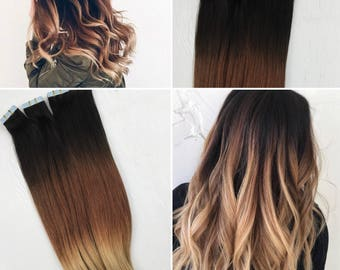 Tape in human hair extensions, natural ombre tape ins, black to blonde tape ins, black to brown ombre, natural ombre tape in hair extension