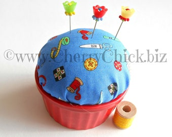 Mary Engelbreit fabric pincushion - Sewing Pins - Gift for Quilters - Sewing theme - Pin Cushion - Mary Englebreit fabric