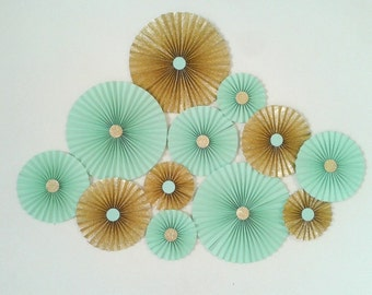 Glitter Gold & Mint Paper Rosette Backdrop - Set of 10 or 12 as per your choice.