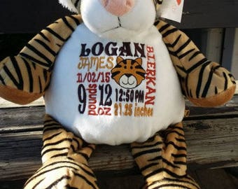 personalized stuffed animal   Birth Announcement   baby gift  birth stat Tiger   stuffed Tiger   Baby Shower Gift  Baby Girl   baby boy Gift
