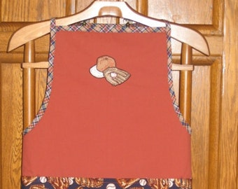 Personnalised, hand made, baseball man apron 3 pockets baseball mitt  with ball embroidery. Free to add name. Sportman gift