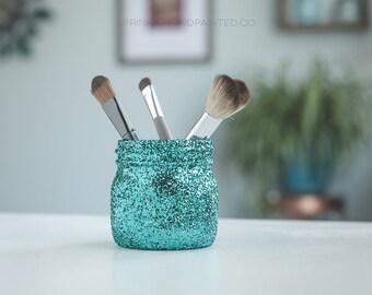 Turquoise Glitter Vase, Makeup Brush Holder, Aqua Pen Jar, Turquoise Office Organizer, Aqua Office Decor, Plant Pots, Cactus Planter