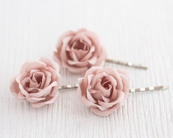 72_Blush wedding hair pin, Pink rose hair pin, Bridal flower, Wedding hair accessory, Roses hair pin, flower hair clip, Bridesmaid hair pins