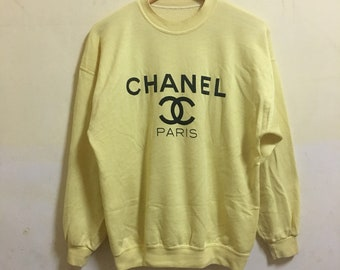 80's Chanel CC inspired PARIS stitched logo sweatshirt tan heather beige cream sweatshirt MEDIUM Large bootleg chanel