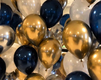 Chrome Gold - Navy Blue - Chrome Silver - Pearl White set - Graduation Balloons