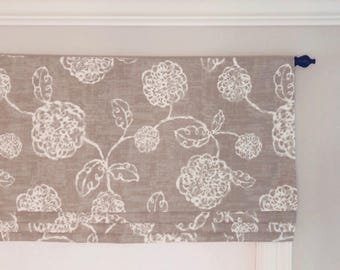 Faux (fake) Flat Roman Shade Valance.  Magnolia Home Fashions Adele Slate.  Ivory and Taupey Grey.  Other colors available.