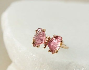 Rose Gold Pink Tourmaline Butterfly Ring - Butterfly Jewelry - Natural Pink Tourmaline, Choose Your Setting