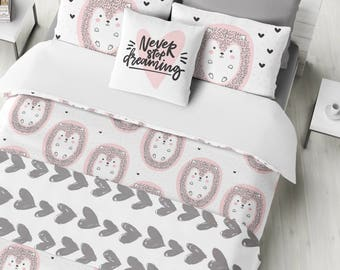 Pink Hedgehog Bedding Set