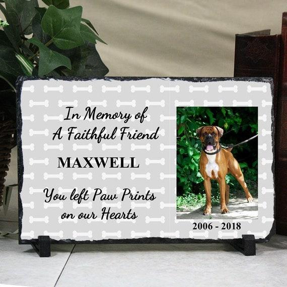 Personalized Pet Photo Memorial Keepsake Dog Bone Design Slate Stone ...