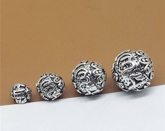 Sterling Silver Om mani padme hum Beads, Sterling Silver Round Beads, Sterling Silver Beads, Sterling Silver Buddhist Buddhism Bead - TF125