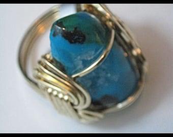Drusy Chrysacolla Wirewrapped Ring  Sz. 7  Item #692