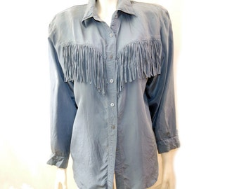 90s Silk Shirt // Blue Silk Fringed Blouse // Southwestern Silk Blouse /  Silk Top// Size M //144