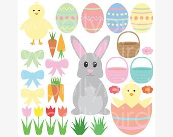 Easter Clipart, Easter Digital Clip Art, Easter Clip Art, Easter Bunny Clipart, Easter Chicks, Easter Eggs Clipart, Scrapbooking Clip Art