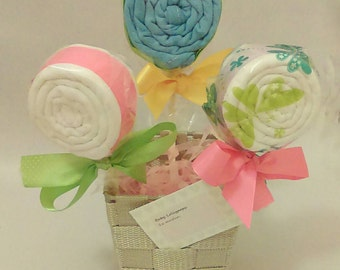 Baby Shower Lollipops for new baby muslin squares for baby feeding baby shower