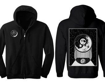 ALPHA MOON Hoodie Men's and Women's Geometric Moon Black Hooded Sweatshirt Sacred Geometry