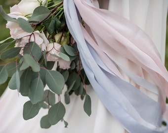 Pantone 2016 color of the year Rose Quartz and Serenity hand-dyed silk ribbon