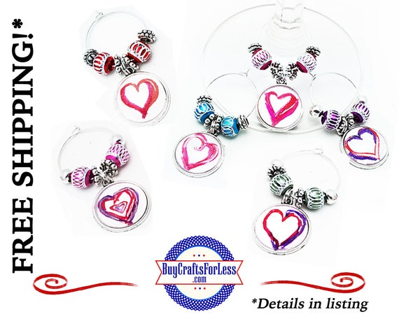 BEST SELLER -HeART WiNE or Bottle Charms, or Napkin Rings, Set of 6, Gift Box +FREE SHiPPiNG & Discounts*