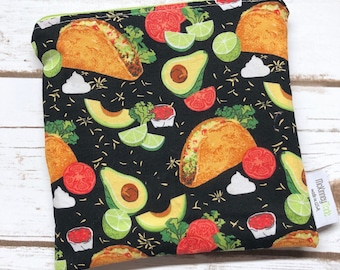 Reusable Sandwich Bag ~ Reusable Snack Bag ~ Reusable Lunch Bag ~ Eco Friendly ~ Water Resistant ~ Zipper Pouch in Tacos