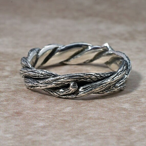 TWISTED TWIGS Wedding Ring This band made in Sterling