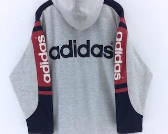 Rare !!! Vintage Adidas Trefoil Sweatshirt Big Logo Spellout Jumper Pullover Block Color Rap Tees Hip Hop Swag eP2VcSCz