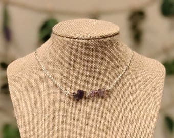 Amethyst Simple Bar Necklace