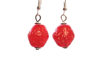 Earrings with rustic red glass beads