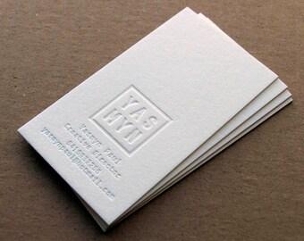 Letterpress Business Cards - 1 Foil Colour + Blind Impression, Crane's Lettra 600gsm (220lb)