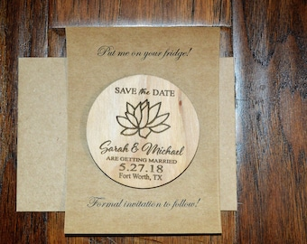 Wedding Save The Date Magnet with envelopes, Wood Save The Date Magnet, Save The Date Magnet, Personalized Save The Date, Wedding Invitation