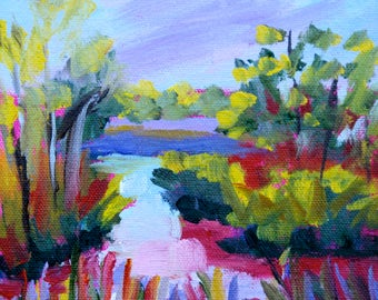 Marsh Art Blank NOTE CARDS from Original Oil Painting of Marsh Landscape by Rebecca Croft