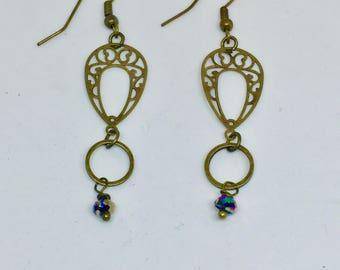 Antique Brass Drop Filagree Crystal Earrings