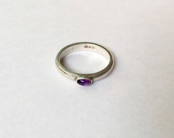vintage sterling and amethyst ring, size 7