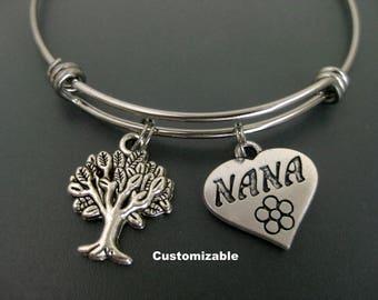 Nana Charm Bracelet / Nana Bangle / Tree of Life Bangle / Gift For Nana / Customizable Bangle / Adjustable Charm Bracelet / Mothers Day /