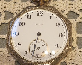 1921 Elgin pocket watch, size 12 in octagonal chrome case