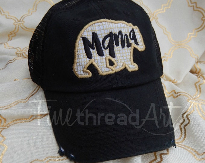 Featured listing image: Mama Bear Distressed Trucker Hat Adjustable Baseball Cap Mom Mother Mother's Day Mom to Be Shower Gift Metallic Dad Hat