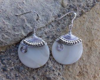 "Earrings natural pearl earrings, ceremony, wedding, Silver Aluminum wire, silver hooks ""full moon"""