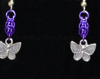 Earrings Butterfly Purple Persian Chainmaille, Silver tone butterfly charms, hypoallergenic silver tone hooks, anodized aluminum chainmail