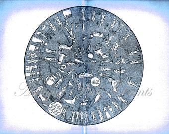 LARGE Old Ancient ZODIAC FIGURES Constellations Figures Star Chart Print in blue